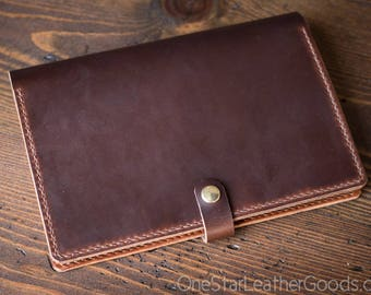 Hobonichi Cousin planner cover (fits other A5 notebooks), +snap +card pockets - brown / chestnut