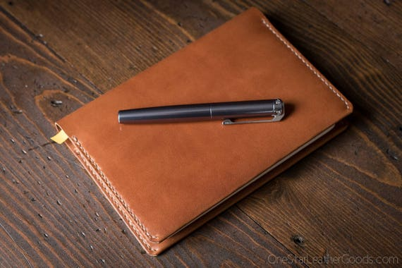 Baron Fig Confidant Flagship (A5) notebook and cover (fountain pen friendly paper) - chestnut harness leather