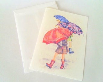 """The card """"in the rain"""" with its envelope"""