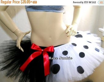 Christmas in July Sale Dalmatian tutu. Running Tutu. Adult Running Costume. Halloween. Cosplay. ( 9 inch length) Black and White Tutu with F