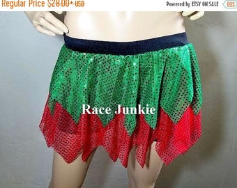 Christmas in July Sale Red and Green Christmas Elf Skirt Sparkly Skirt. christmas Costume. Elf skirt. Green and Red Skirt.