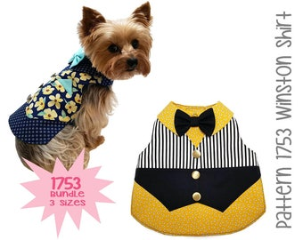 Winston Dog Shirt Pattern 1753 * Bundle 3 Sizes * Dog Clothes Sewing Pattern * Dog Vest Pattern * Dog Shirt Pattern * Dog Bow Tie * Dog Suit