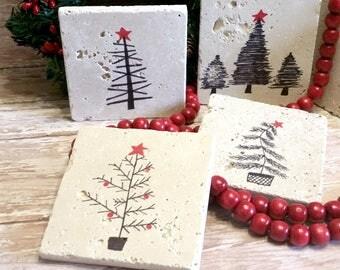 Christmas Coasters | Christmas Travertine Stone Coasters | Hand-drawn Christmas Coasters | Christmas Drink Coasters