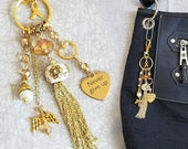 RESERVED: Childhood Cancer Awareness Purse Charm / Never Give Up