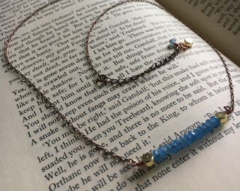 Blue Faceted Jad Bar Necklace, 17.75 inches - 19.75 inches