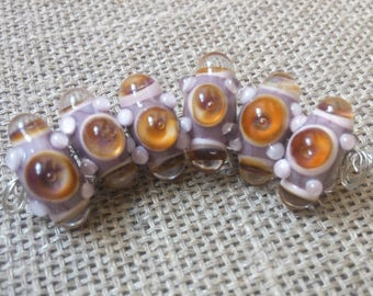 Handmade Glass Lampwork Beads - 6 Beads Set  - Lilac
