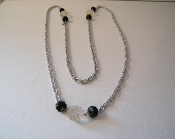 Long Bling Necklace, Vintage 48 inch chain with plastic accent beads, Fashion accent, swirl clear and black fauceted beads, vintage 70s,