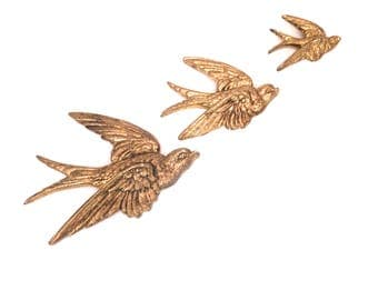 Mid Century Brass Bird Wall Hanging, Vintage Swallow Ornament, Gold Swift Wall Decor, Bird Wall Plaque, Retro Flying Birds, Made in England