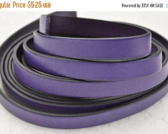 """ON SALE 10MM Flat Leather Cord - Purple - 24""""/2ft"""