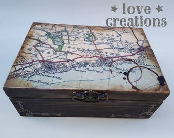 travellers old map vintage wooden treasure, keepsake, memory, storage box,style,detailed,old effect, handcrafted gift,jewellery box,man gift