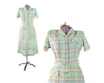 1940s dress, mint green dress, 40s dress, 1940s vintage dress, 40s vintage dress, plaid dress, vintage clothing