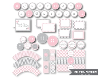 Cute as a Button Party Printables, Button Birthday Party, Button Baby Shower, Sew Cute Shower, Pink Buttons
