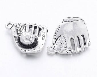 Charms: Baseball Glove and ball, Set of 5, Baseball Mitt, baseball charm, baseball glove charm, little league charm, softball charm, SLT203