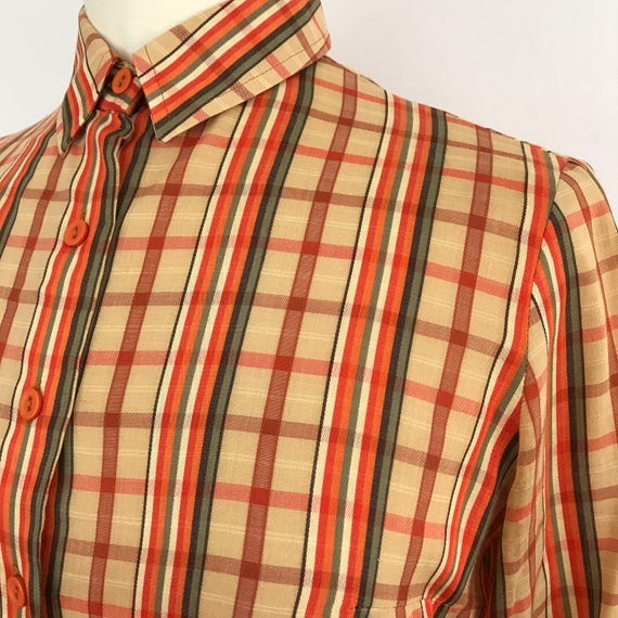 Vintage blouse checkered shirt 1970s top orane plaid UK 12 14 Mod blouse GoGo Scooter Girl midcentury style st michael