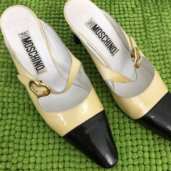 vintage moschino shoes patent leather mules UK 4.5 EU 37.5 US 6 all leather cream black slip ons 90s GoGo glam Ab Fab