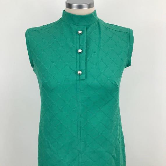 Mod shift dress jade green mini gogo UK 10 12 high neck Scooter girl checkered 1960s crimplene 60s