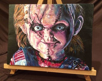 """CHILD'S PLAY   Handy Painted Chucky Acrylic Paint on Stretched Canvas 12"""" x 16"""""""