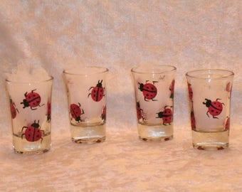 LADYBUG SHOT GLASSES, set of four