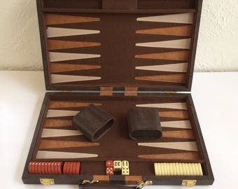 Vintage Backgammon Game, Backgammon board portable case, Backgammon Set (A)