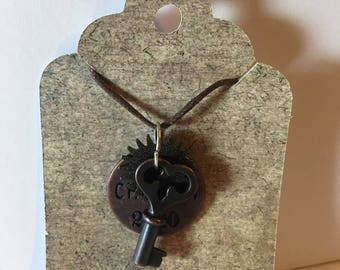 Steampunk Necklace With Cherish Charm and Key