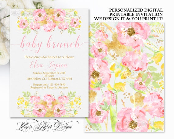 baby shower invitation pink and yellow floral baby brunch invite