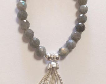 Ladies labrodite and sterling silver tassell beaded bracelet
