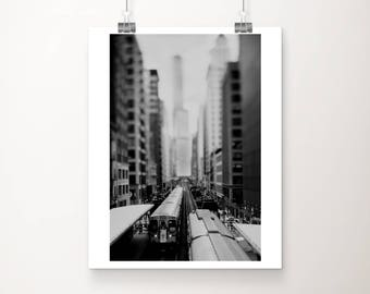 Chicago photograph elevated train photograph architecture photograph Chicago print black and white photograph L Train print
