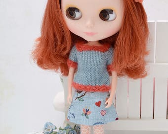 Pretty short sleeved jumper and reversible matching skirt for Blythe