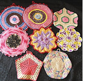 Lot of EIGHT (8) Vintage Hand Crocheted Hot Pads / Trivets / Pot Holders / Doilies ~ Various Sizes & Colors  (HH0008)