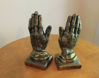 Vintage Cast Metal Bronze or Brass Finish Man's Hands Bookends 7380 Bookends