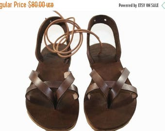 15% OFF Brown Leather Sandals for Women & Men - Design 11a- Handmade Leather Sandals, Casual Leather Flats, Unisex Sandals, Genuine Leather
