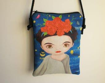 Shoulder bag, crossbody bag, printed bag, little bag, Frida Kahlo, Frida Kahlo shoulder bag, messenger bag, handbag