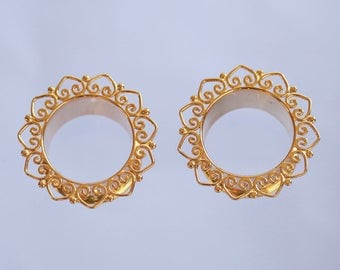 Gold Plated brass tunnel, Lotus padma, Hand Made