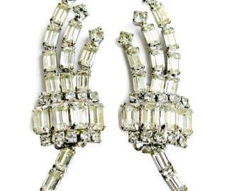 Rhinestone Clip Earrings, Baguette Ear Climbers, Pageant, Prom, Wedding, Bride, Vintage Glam