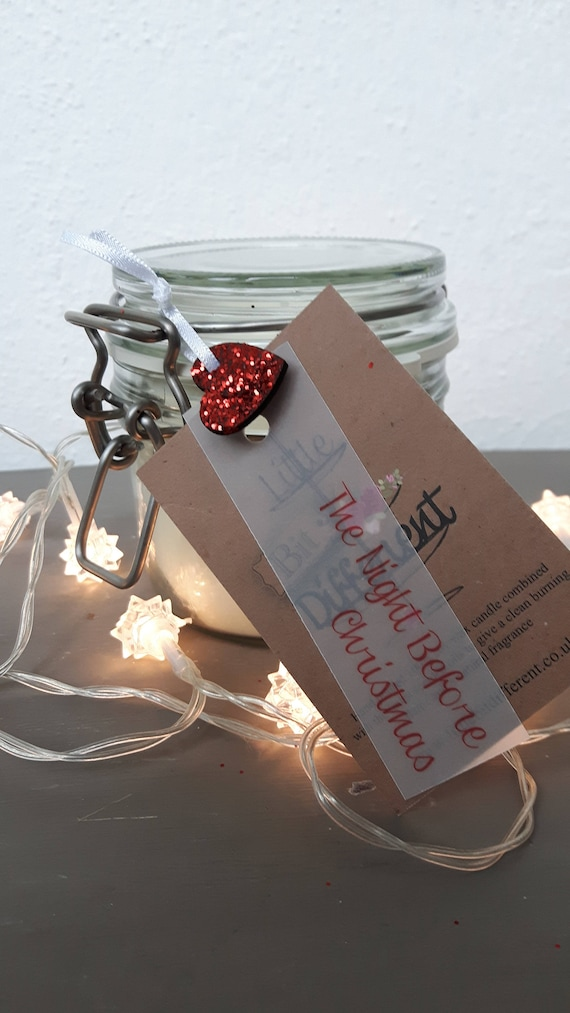 The Night Before Christmas scented, eco friendly, vegan soy wax candles in reusable Kilner style jars.