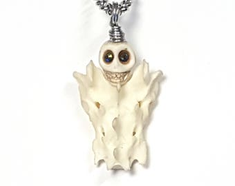 real domestic cat sacrum bone taxidermy necklace