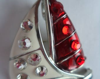 Vintage Signed FL 2005 Red/White and Blue Enamel/Multi Rhinestone Yacht Brooch/Pin