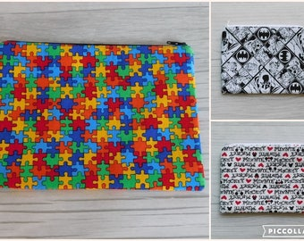 Medium Zippered Pouches • Colorful Puzzle, Batman & Villians, Mickey and Minnie