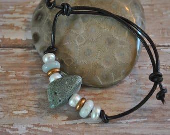 Frankfort Green Stone Bracelet on leather, Up North, bracelet, Michigan
