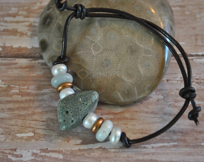 Frankfort Green Stone Bracelet on leather, Up North, bracelet, Michigan