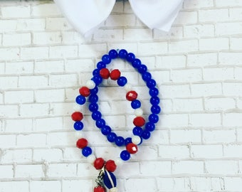 4th Of July Beaded Bracelet, 4th of July Bubblegum Bracelet, Independence Day Jewelry,  Red White and Blue Jewelry, Personalized Bracelets
