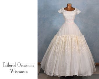 CLEARANCE! VTG 1950s William Cahill Little Bo Peep Wedding Gown | Princess Romantic Pinup Rockabilly Prom Cotillion Debutante Lolita