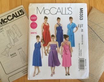 multi way wrap knit dress bridesmaid size  6 8 10 12 14 bust McCalls 6353 misses easy plus sewing pattern