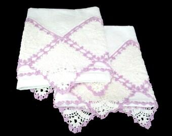 Pair Crocheted Pillowcases, Purple White Crochet Trim, Soft White Cotton, Vintage Pillowcases, Embellished Bed Linens, Farmhouse Cottage