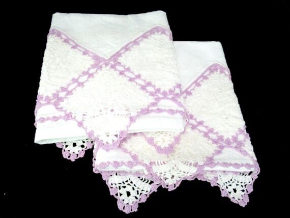 Pair of Vintage Crocheted Pillowcases, Purple and White Crochet Trim