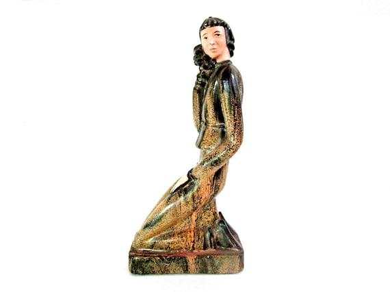 Art Deco Figurine, Man Kneeling Holding Fruit, Mid Century Genuine Meneris Chalkware