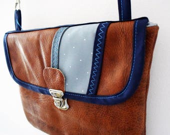 Recycled leather pouch Brown and blue