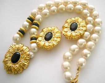 KJL SET - Necklace and Earrings - Pearl Necklace with Onyx and Gold Tone Accents - S2146