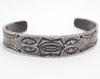 Early Navajo Silver Stampwork Cuff Bracelet Beautiful