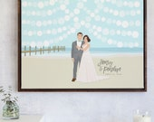 Beach Wedding Guest Book with Couple Portrait, State Illustration, and Sign In Lanterns on PAPER, CANVAS, or DIGITAL by Miss Design Berry